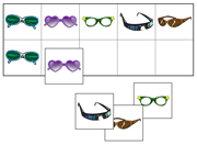 Glasses Match-Up and Memory Game - Printable Montessori preschool materials by Montessori Print Shop.