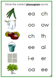 Green Phonogram Sound Cards - Printable Montessori language materials by Montessori Print Shop.