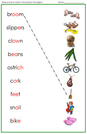 Green Phonogram Word and Pictures - Printable Montessori language materials by Montessori Print Shop.