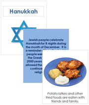 Hanukkah Cards and Booklet - Printable Montessori celebration materials by Montessori Print Shop.