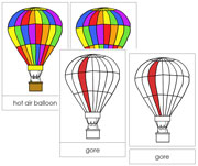 Hot Air Balloon Nomenclature Cards (Red) - Printable Montessori Nomenclature Materials by Montessori Print Shop.