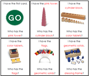 I have, Who has - Montessori Materials. Printable Montessori Sensorial materials by Montessori Print Shop.