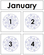 January Calendar Tags - Printable Montessori materials by Montessori Print Shop.