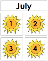 July Calendar Tags - Printable Montessori materials by Montessori Print Shop.