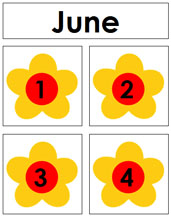 June Calendar Tags - Printable Montessori materials by Montessori Print Shop.
