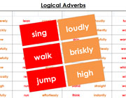 Logical Adverb Cards (in color) - Printable Montessori grammar materials by Montessori Print Shop.