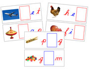 Moveable Alphabet Sound Cards for the Printable Cursive Montessori Moveable Alphabet (red/blue) - Montessori Print Shop