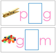 Vowel Sound Cards for the Printable Moveable Alphabet (pink/blue) - Printable Montessori materials by Montessori Print Shop.