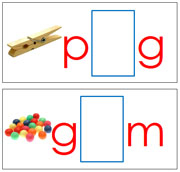 Vowel Sound Cards for the Printable Moveable Alphabet (red/blue) - Printable Montessori materials by Montessori Print Shop.