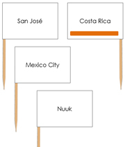 North America Capital Cities - pin flags (color-coded) - Printable Montessori geography materials by Montessori Print Shop.
