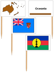 Australasia/Oceania Flags: pin flags (color-coded) - Printable Montessori geography materials by Montessori Print Shop.