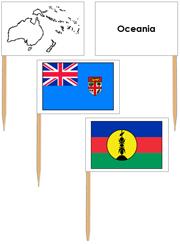 Oceania Flags: Pin Map Flags - Printable Montessori geography materials by Montessori Print Shop.