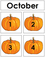 October Calendar Tags - Printable Montessori materials by Montessori Print Shop.
