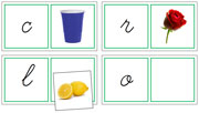 Phonetic Matching Cards (Set 3) Cursive - Printable Montessori language materials by Montessori Print Shop.