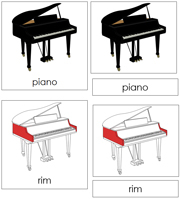Piano Nomenclature Cards (red) - Printable Montessori materials by Montessori Print Shop.