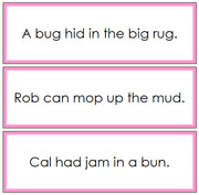 Pink Phonetic Sentence Cards 3 - Printable Montessori Language materials by Montessori Print Shop