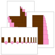 Pink Tower & Broad Stair Pattern Cards 1 - Printable Montessori Sensorial materials by Montessori Print Shop.