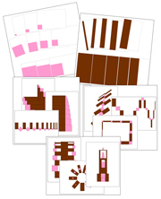 Pink Tower & Broad Stair Pattern Cards Bundle - Printable Montessori Sensorial Cards