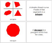 Polygon Book, Complex Concepts (red) - Printable Montessori math materials by Montessori Print Shop.