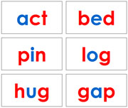 Red and Blue Phonetic Word Cards Level 1 - Printable Montessori language materials by Montessori Print Shop.