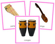 South American Instruments - Printable Montessori geography materials by Montessori Print Shop.