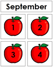 September Calendar Tags - Printable Montessori materials by Montessori Print Shop.
