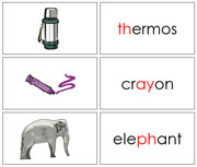 Phonogram Words and Pictures - Printable Montessori Language materials by Montessori Print Shop