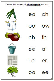 Phonogram Sound Choice Cards Step 3 Set 1 - Printable Montessori Language Learning Materials for home and school.