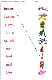 Phonogram Word and Picture Match - Printable Montessori language materials by Montessori Print Shop.