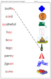 Phonogram Words and Pictures Match - Printable Montessori language materials by Montessori Print Shop.