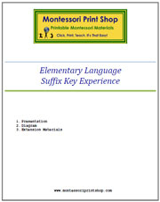 Elementary Suffix Key Experience & Materials - Printable Montessori materials by Montessori Print Shop.