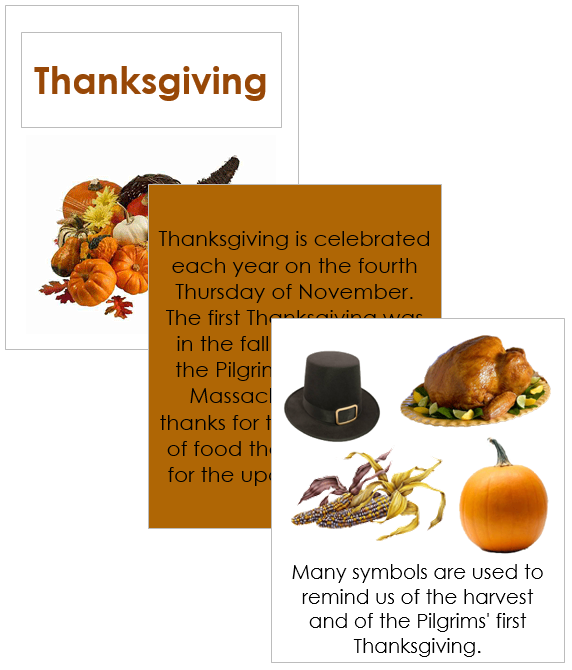 Thanksgiving Cards and Booklet - Printable Montessori celebration materials by Montessori Print Shop.