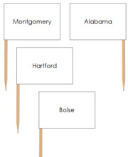 USA Capital City Pin Map Flags - Printable Montessori geography materials by Montessori Print Shop.