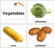 Toddler Vegetable Cards - Printable Toddler Montessori Materials by Montessori Print Shop.