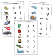 Phonetic Vowel Sound Choice Cards - Printable Montessori language materials by Montessori Print Shop.