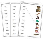 Phonetic Words and Picture Match - Printable Montessori language materials by Montessori Print Shop.