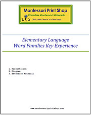 Elementary Word Families Key Experience & Materials - Printable Montessori materials by Montessori Print Shop.