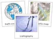 Cartography Nomenclature Cards (Basic Concepts) - Printable Montessori materials by Montessori Print Shop.