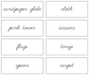 Environment Labels (Cursive) - Printable Montessori materials by Montessori Print Shop.